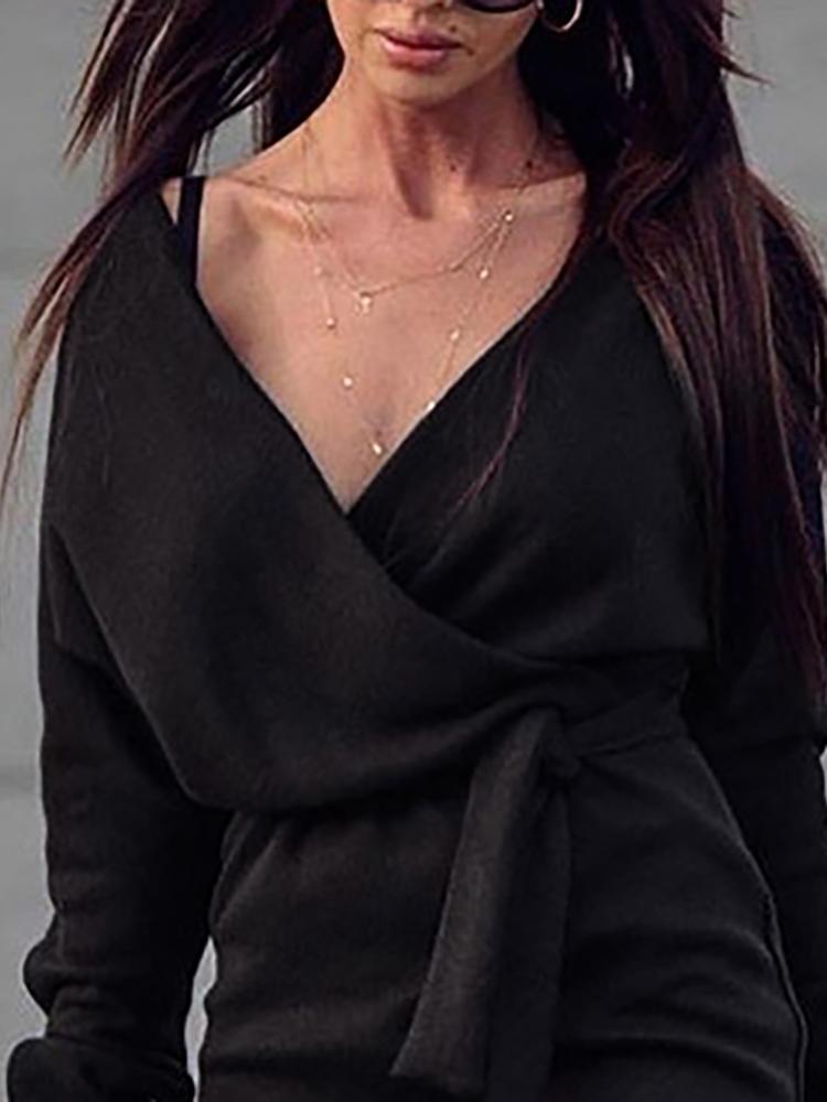 boutiquefeel / V-Neck Wrap Belted Long Sleeve Dress
