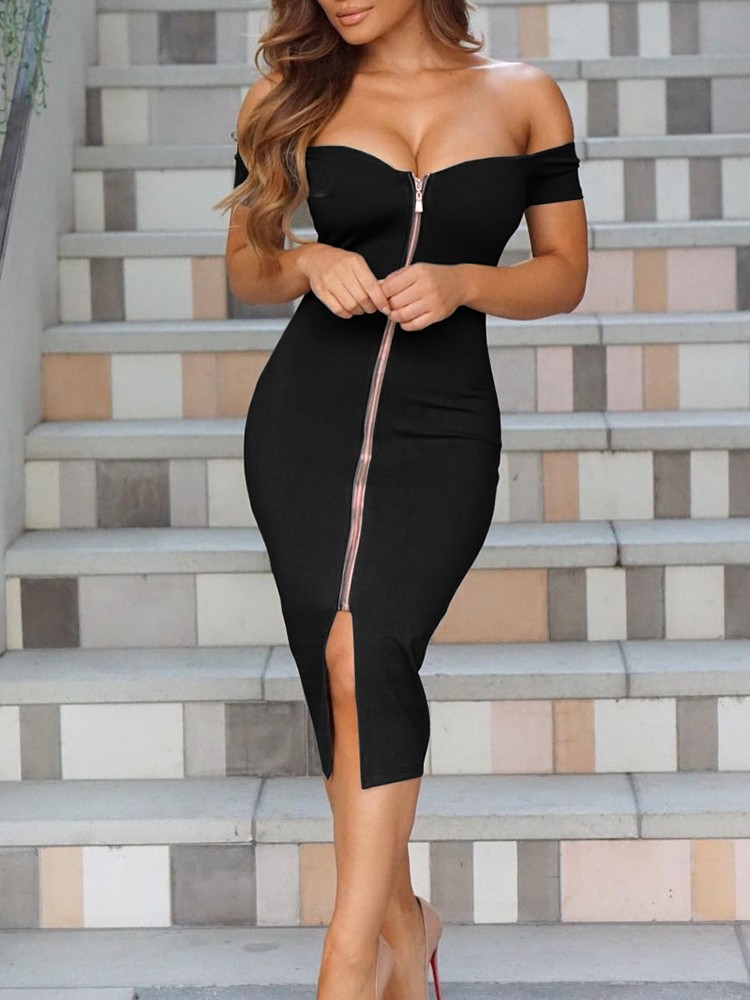 Sexy Women Off Shoulder Zipper Front Midi Dress