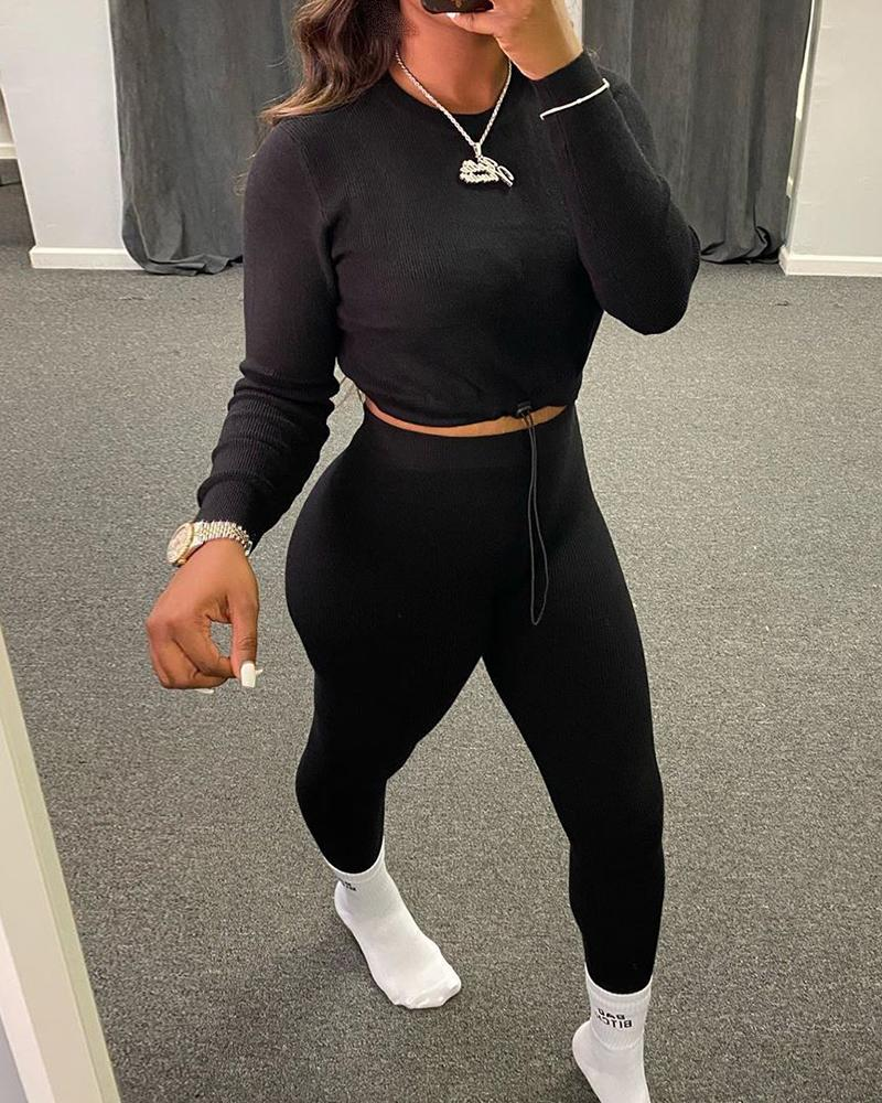 Solid Drawstring Long Sleeve Crop Top & Fitted Pants Set thumbnail