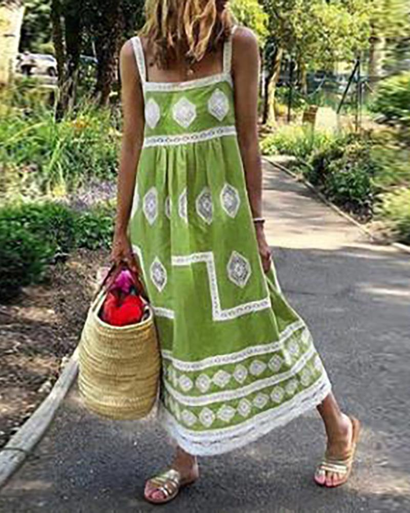 Geometry Print Colorblock Square Neck Maxi Dress thumbnail