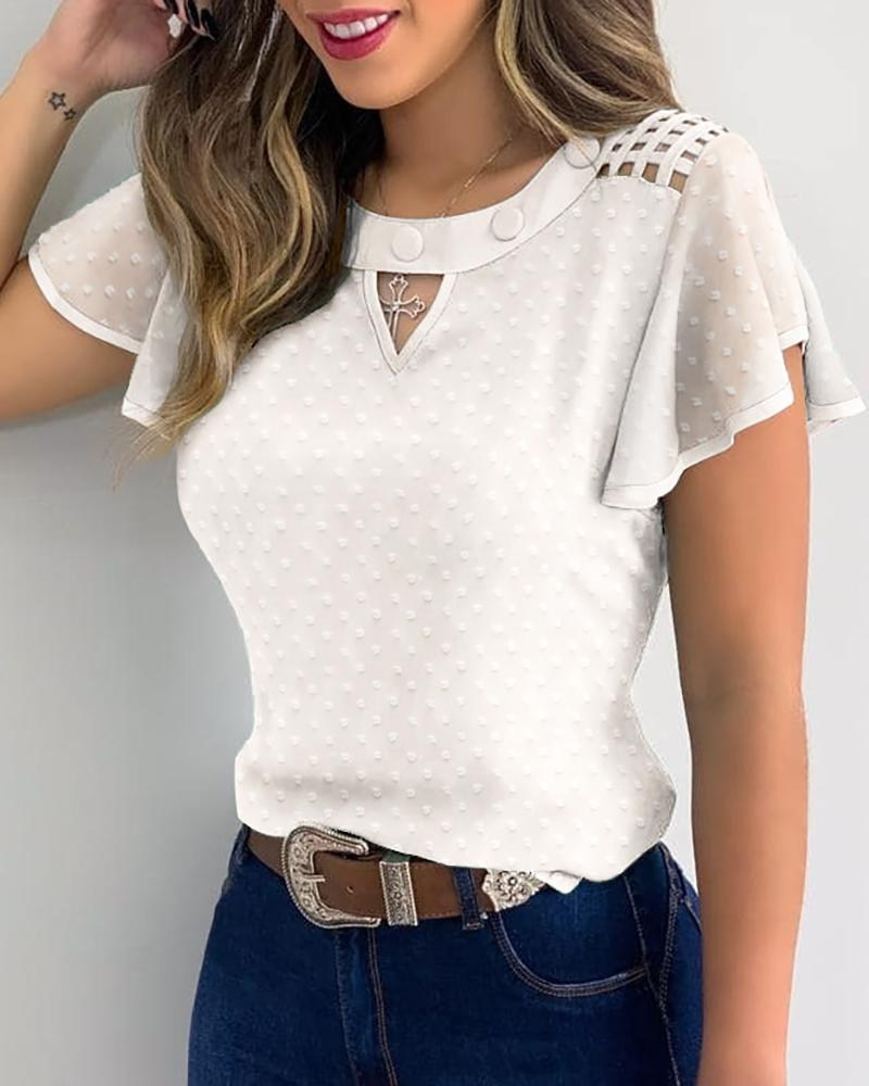 Swiss Dots Ruffles Sleeve Cutout Front Casual Top