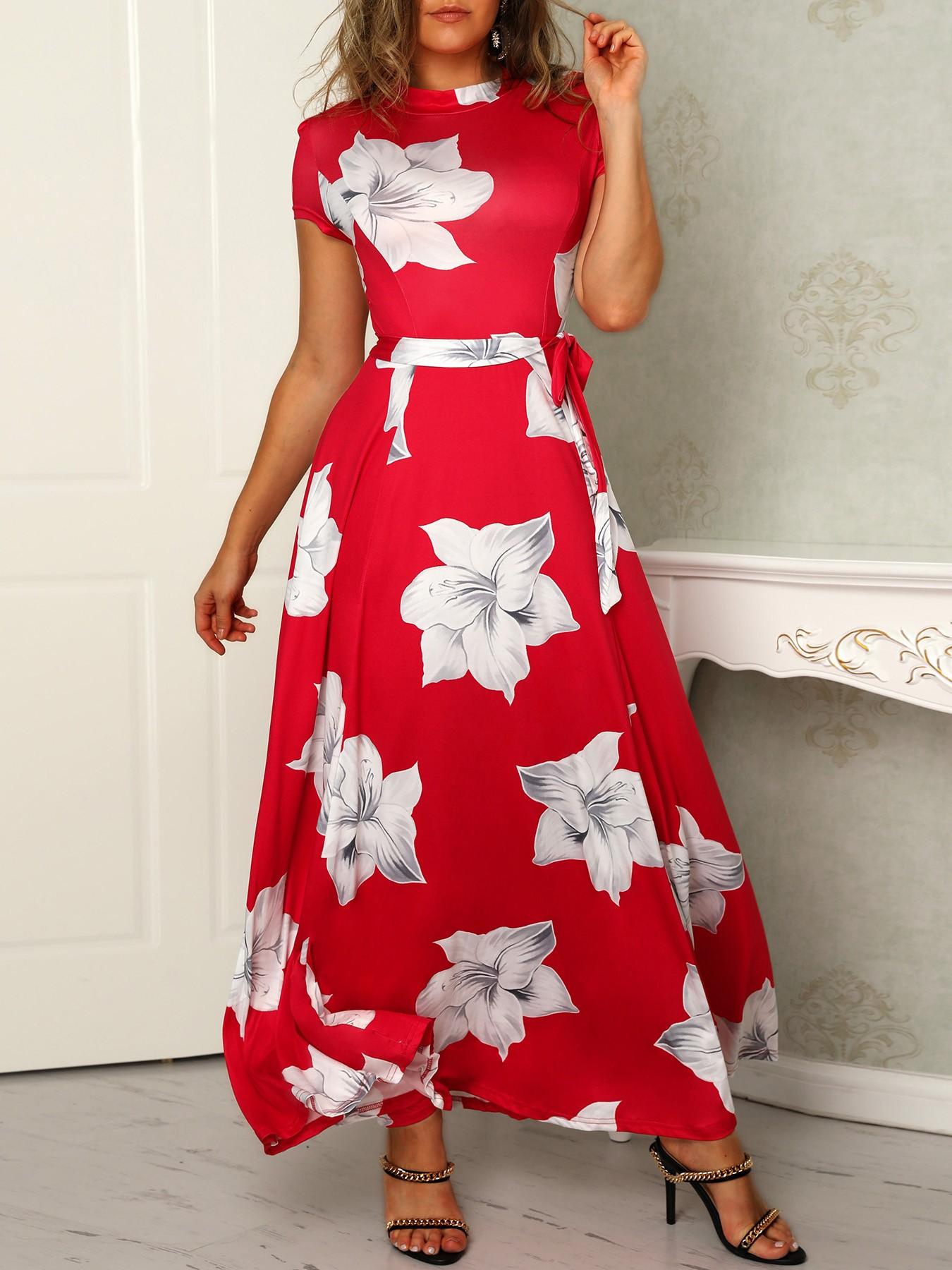 boutiquefeel / Floral Print Mock Neck Belted Ruched Maxi Dress