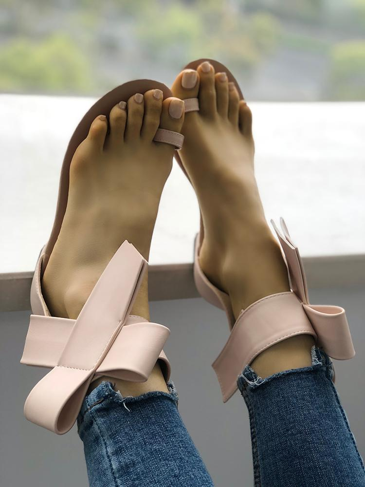 boutiquefeel / Solid Bowknot Toe Ring Sandals