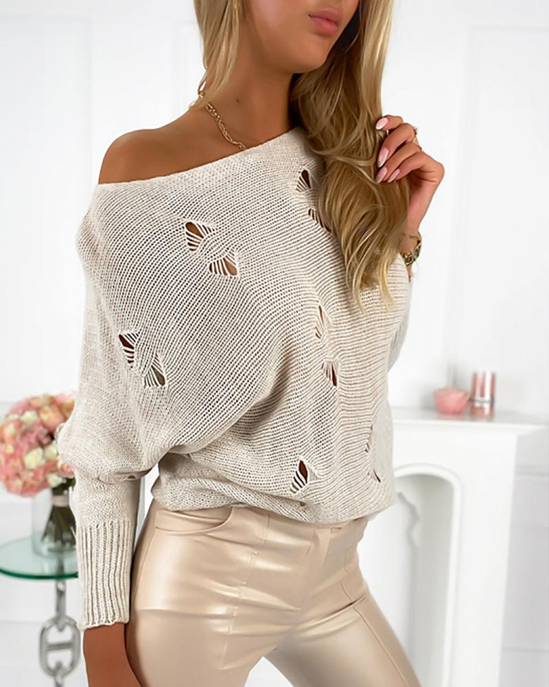 Plain Hollow Out Long Sleeve Sweater