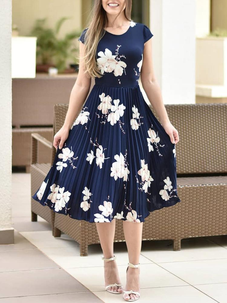 boutiquefeel / Floral Print Short Sleeve Pleated Dress