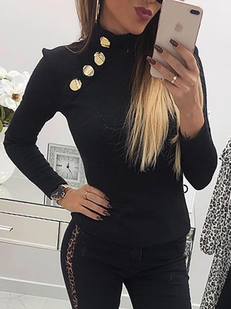 High Neck Button Detail Blouse