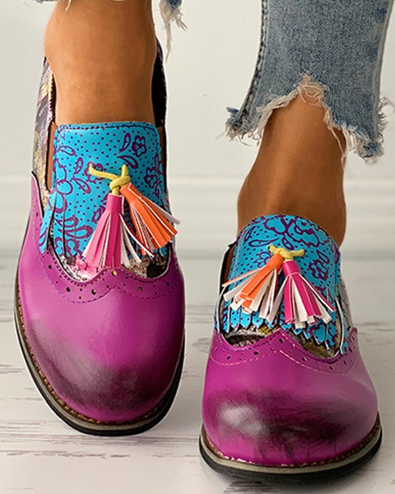 Tassel Design Colorblock Oxford Shoes