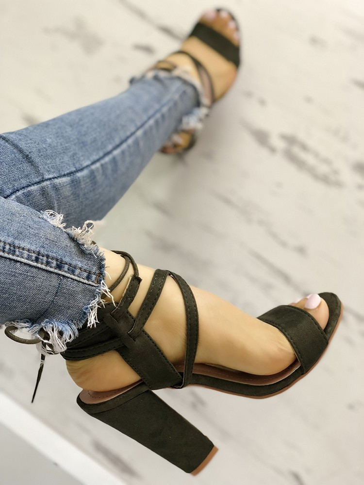 boutiquefeel / Lace Up Open Toe Block Heels Sandals