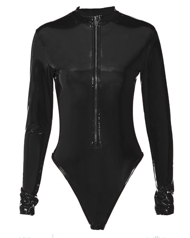 Solid Long Skinny Patent Leather Zip-up Bodysuit