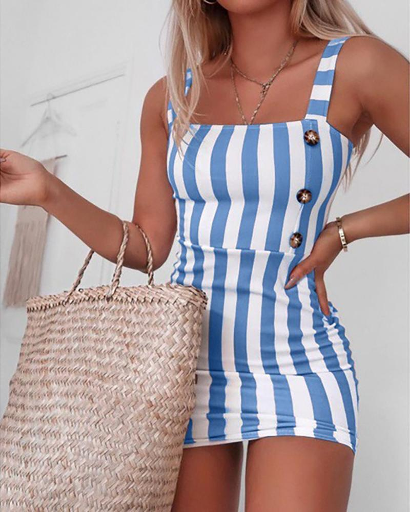 Striped Thin Strap Square Neck Mini Dress thumbnail