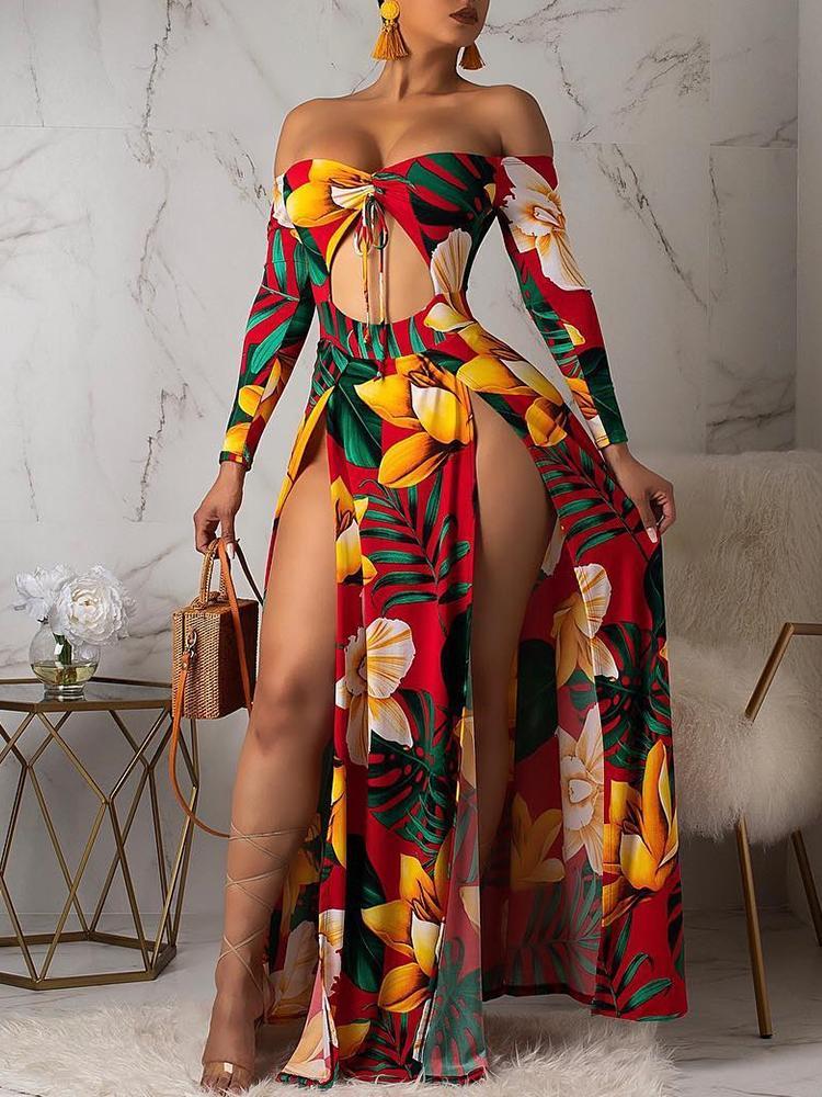 Off Shoulder Floral Print Slit Maxi Dress
