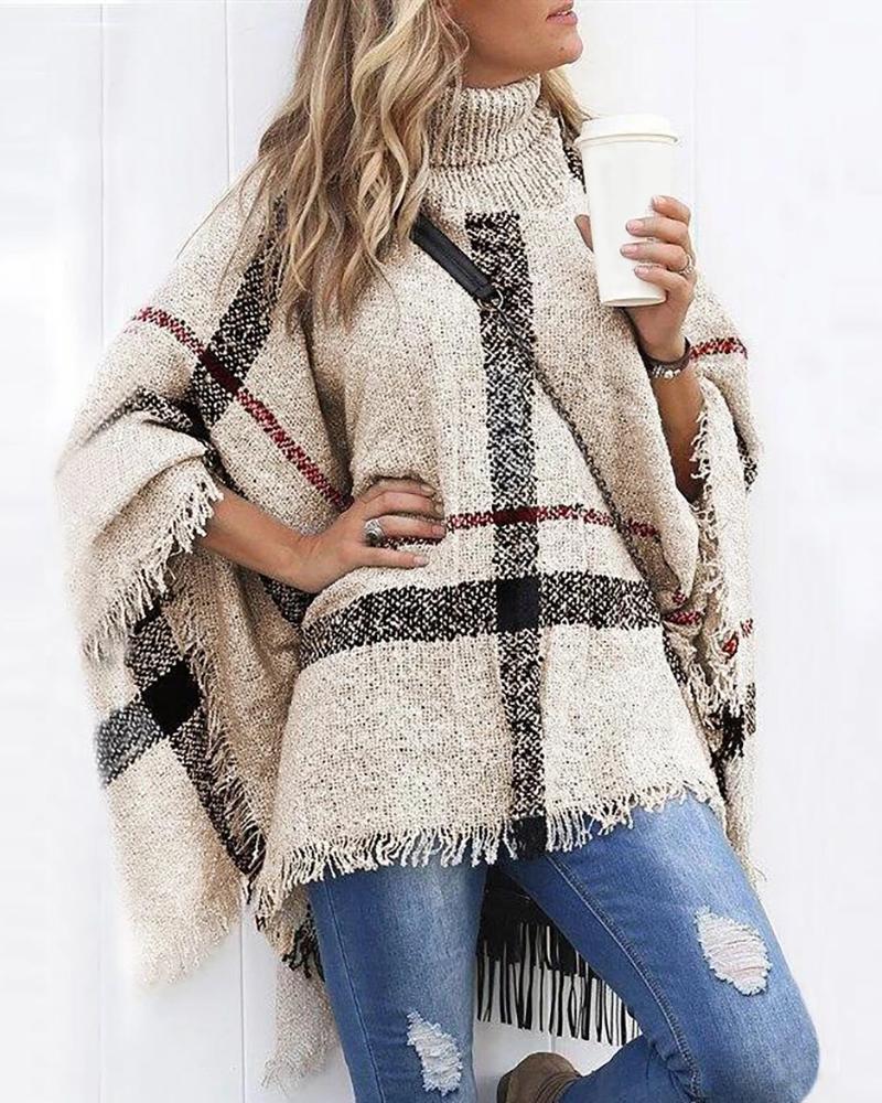 Colorblock Tassel Design Cape Sleeve Knit Sweater thumbnail