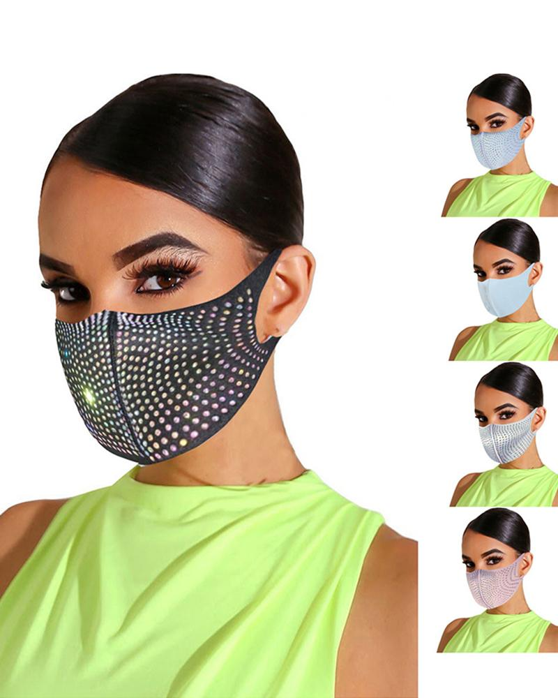 Bling Rhinestone Animal Pattern Face Mask thumbnail