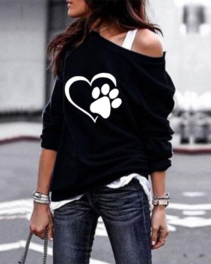Paw Heart Print Long Sleeve Casual Sweatshirt