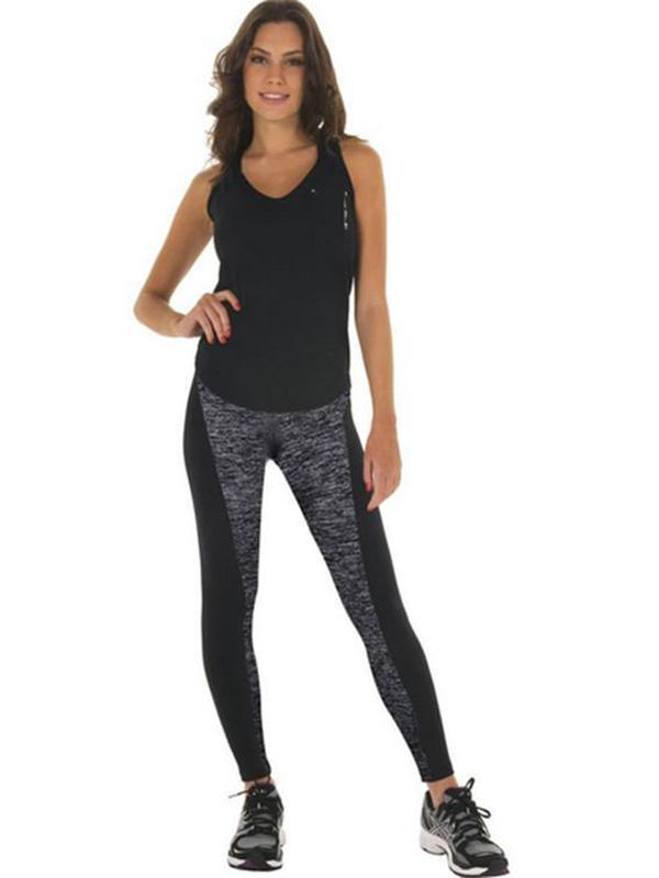 4aa69bbf094fa Women Fashion Black And Gray Paneled Plus Slimming Sports Leggings For  Running/Yoga/Sport/Sleep Online. Discover hottest trend fashion at  chicme.com