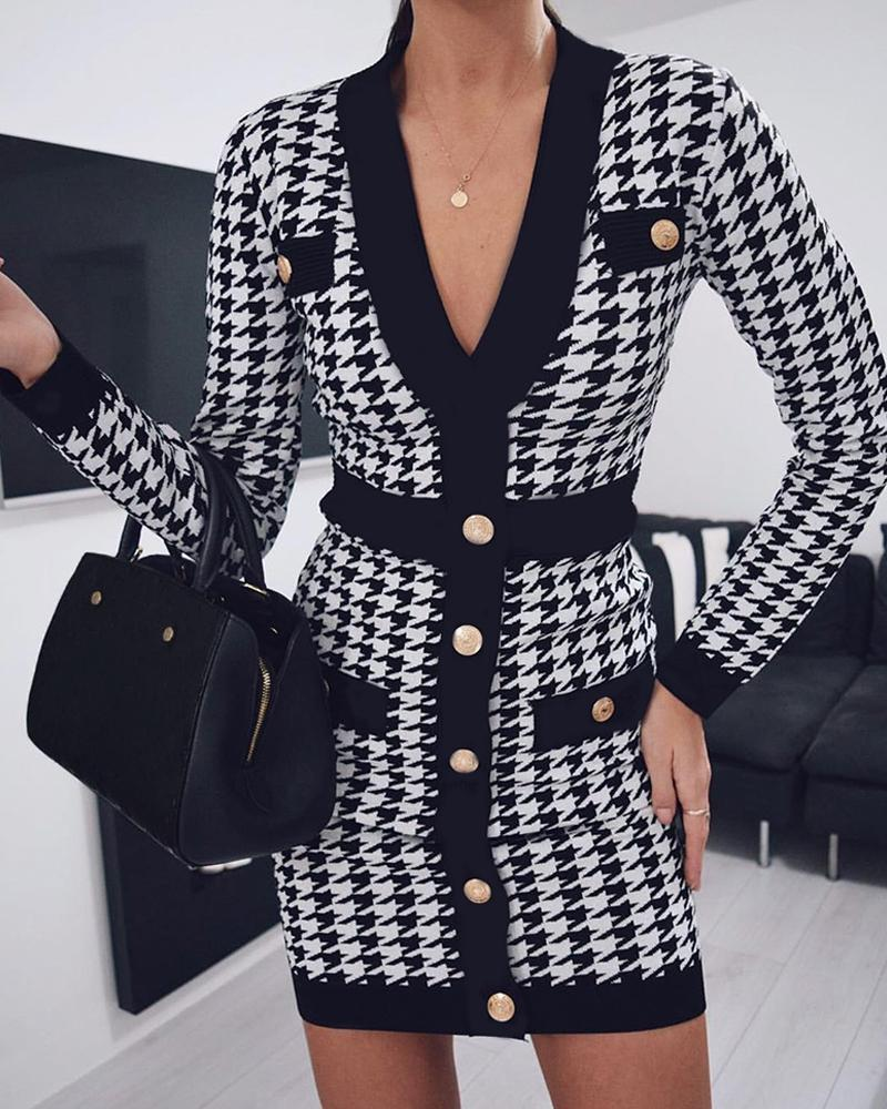 Houndstooth Button Front Blazer Dress