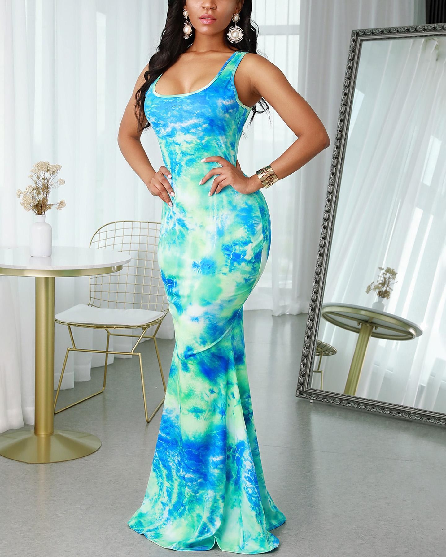 Tie Dye Print Sleeveless Mermaid Maxi Dress thumbnail