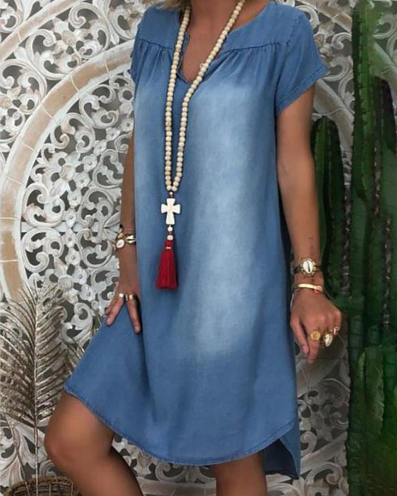 Denim V Cut Short Sleeve Ruched Casual Dress thumbnail
