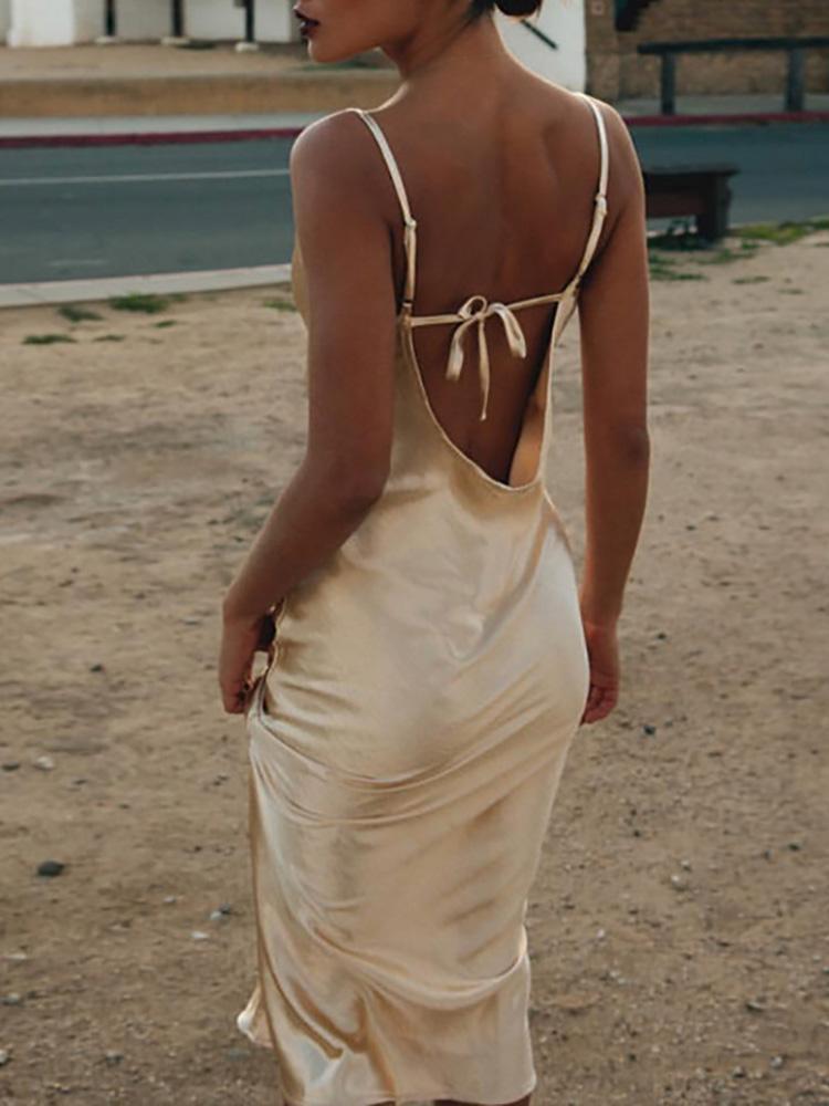boutiquefeel / Spaghetti Strap Drape Neck Open Back Dress