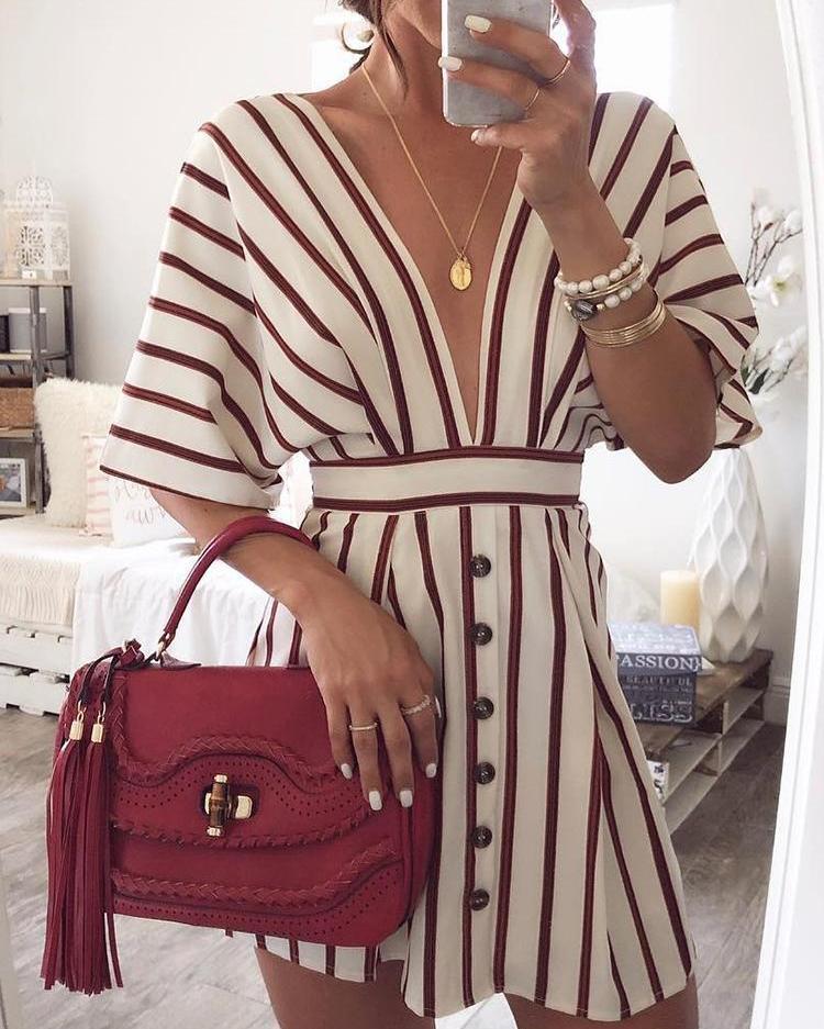 Vertical Stripes Plunge Button Design Casual Dress