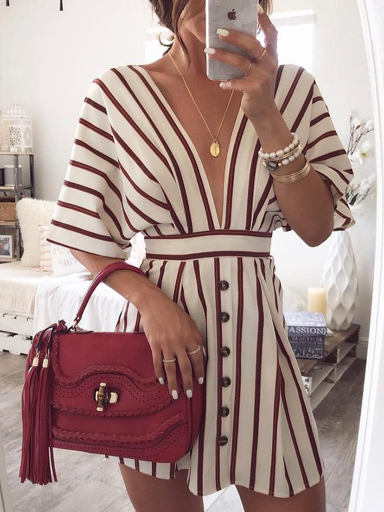 Vertical Stripes Plunge Button Design Casual Dress