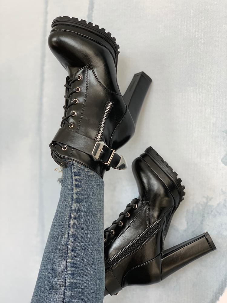 boutiquefeel / Platform Buckle Lace-Up Chunky Heeled Boots