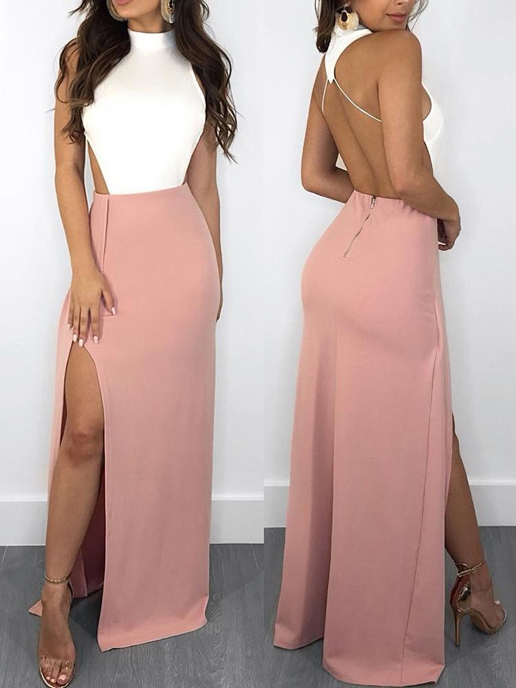 Halter Backless Patchwork Side Slit Maxi Dress