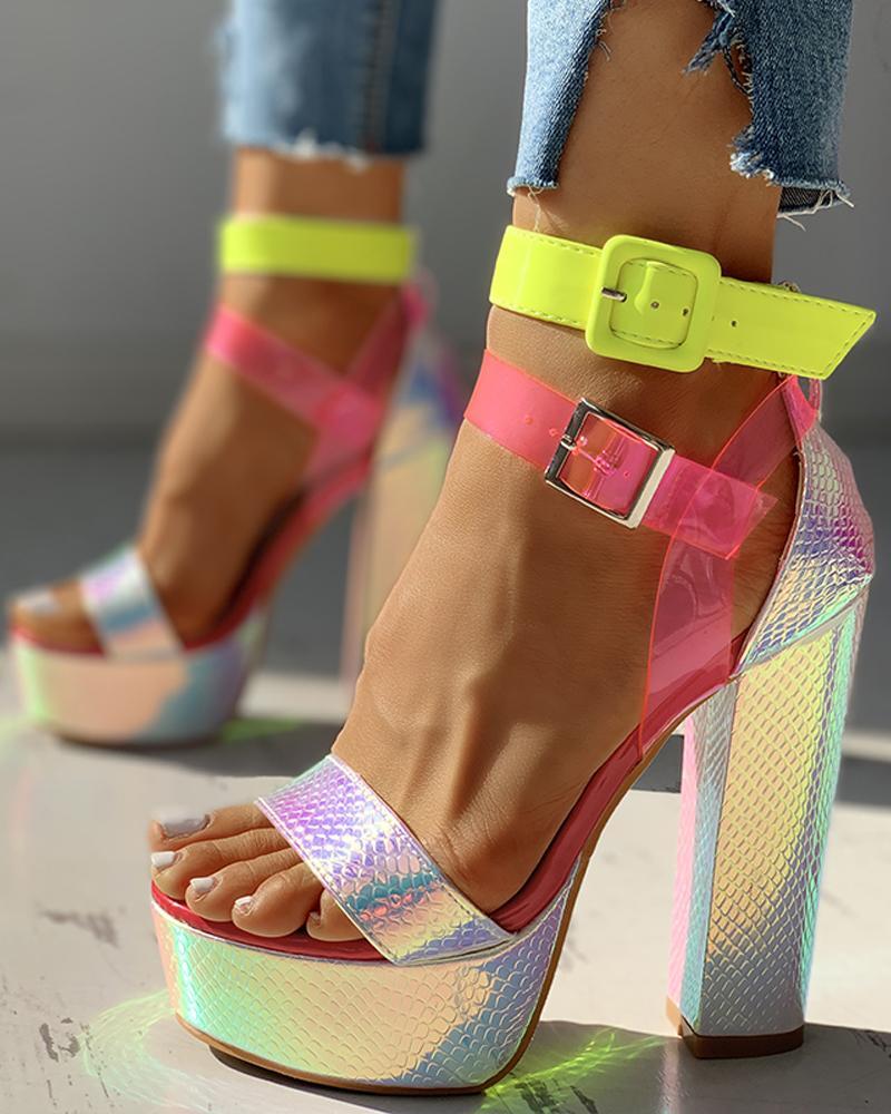 Sequins Strap Platform Chunky Heeled Sandals