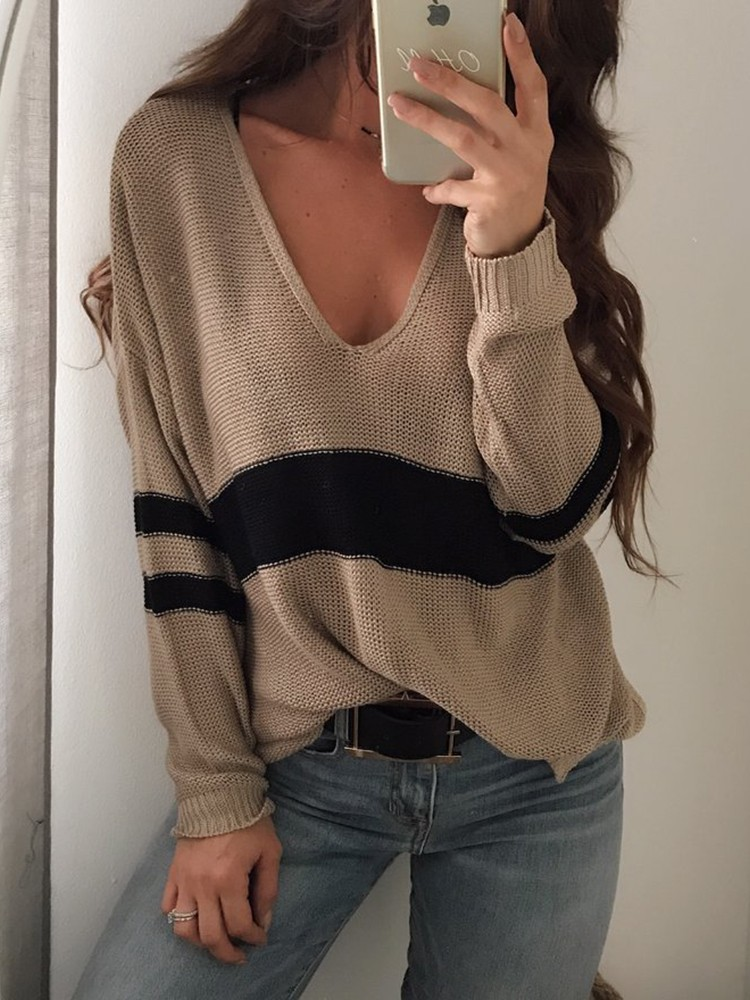 boutiquefeel / Contrast Stripes V Neck Casual Sweater