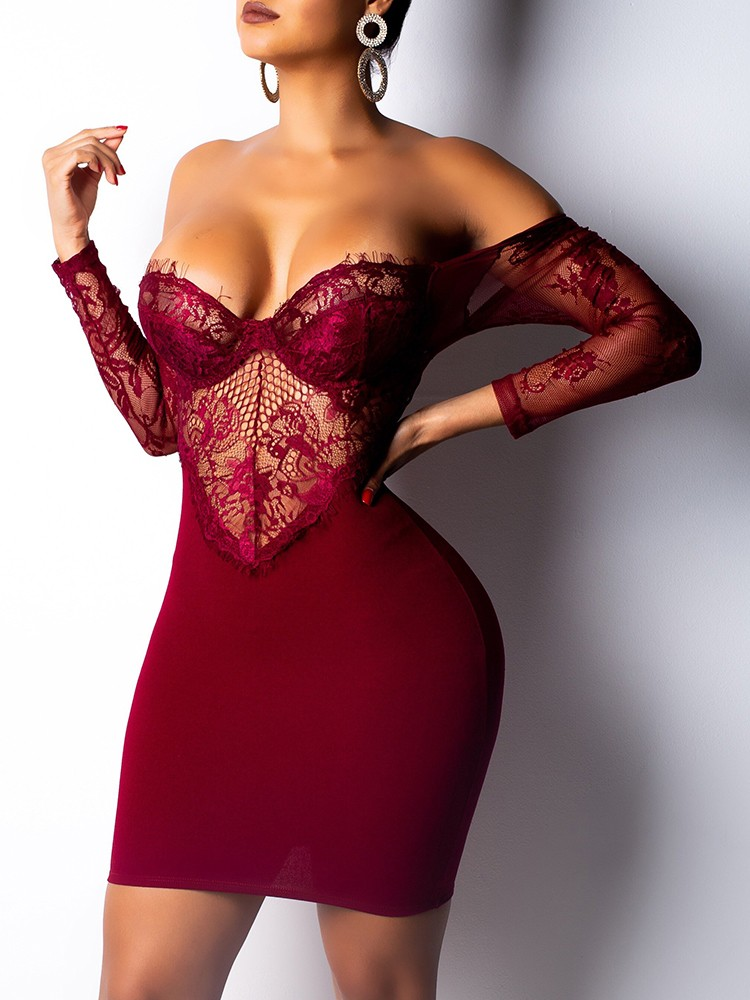 boutiquefeel / See Through Eyelash Lace Backless Bodycon Dress