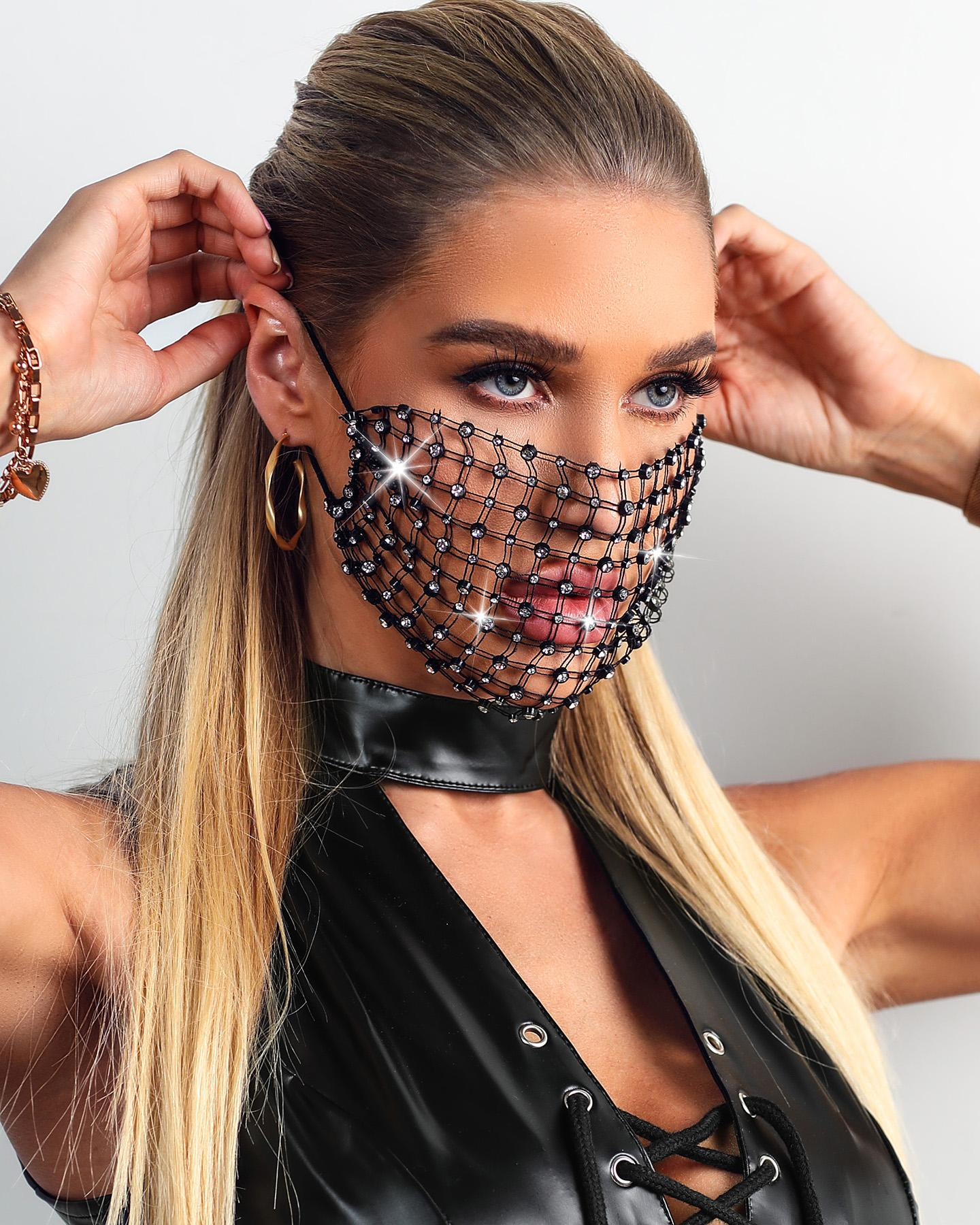 Hollow Out Breathable Bling Rhinestone Face Mask thumbnail