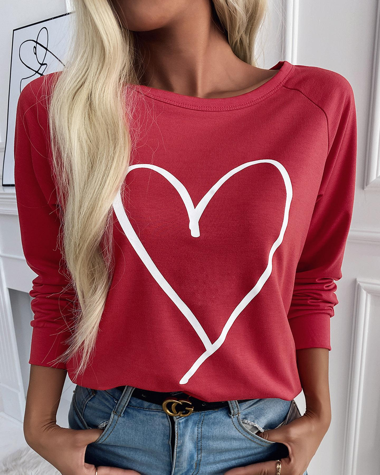 Heart Print Long Sleeve Top