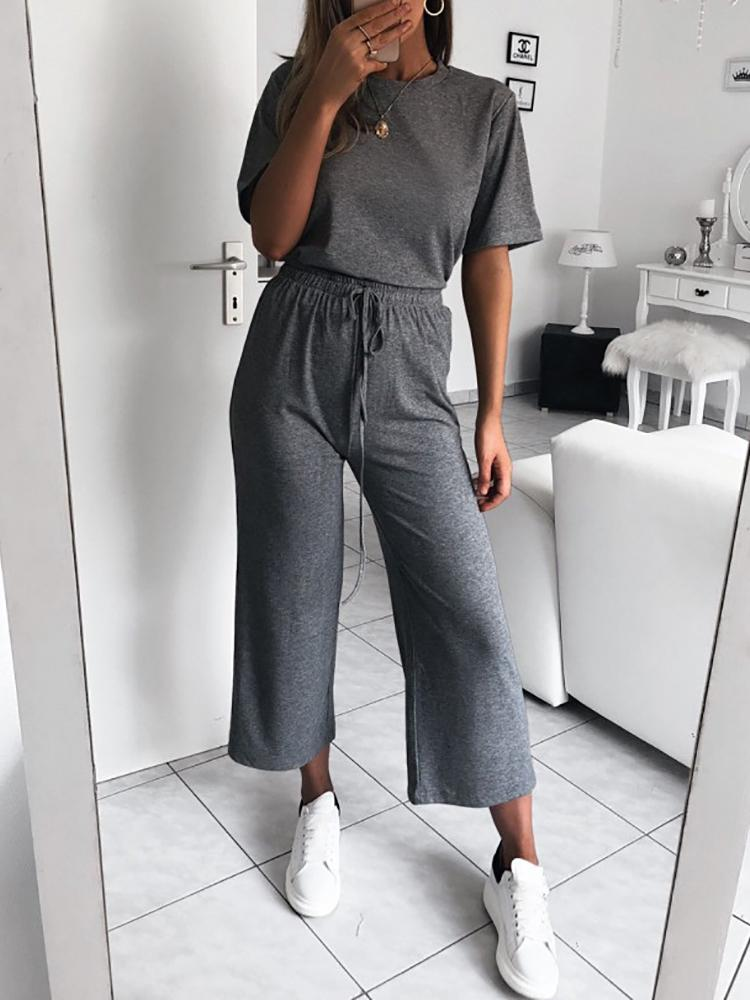 Solid Short Sleeve Drawstring Jumpsuits