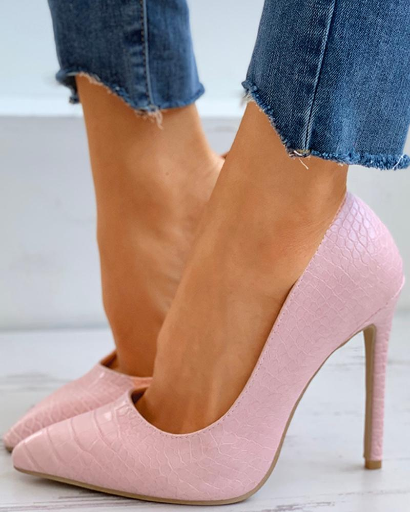 Croc Embossed Pointed Toe Stiletto Heeled Pumps thumbnail