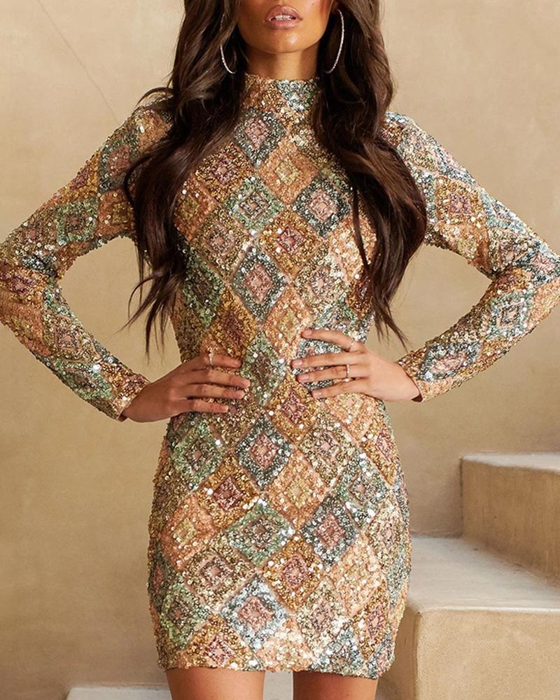Glitter Mock Neck Langarm Pailletten, figurbetontes Kleid