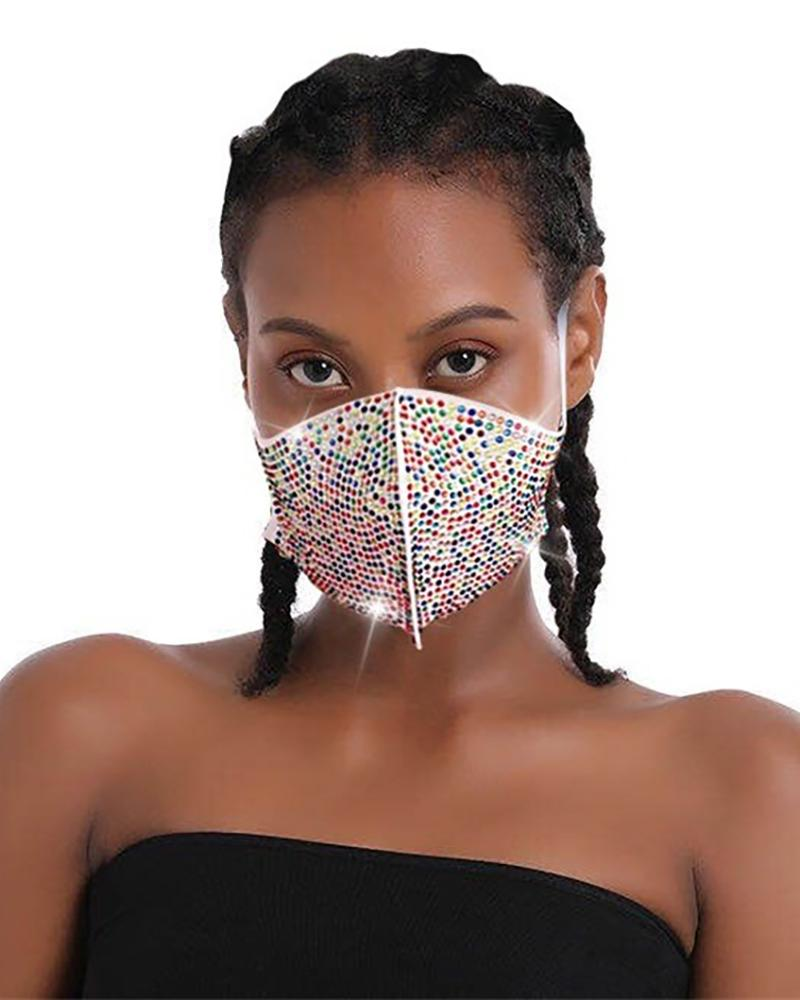 Daisy Pattern Colorblock Bling Rhinestone Face Mask thumbnail