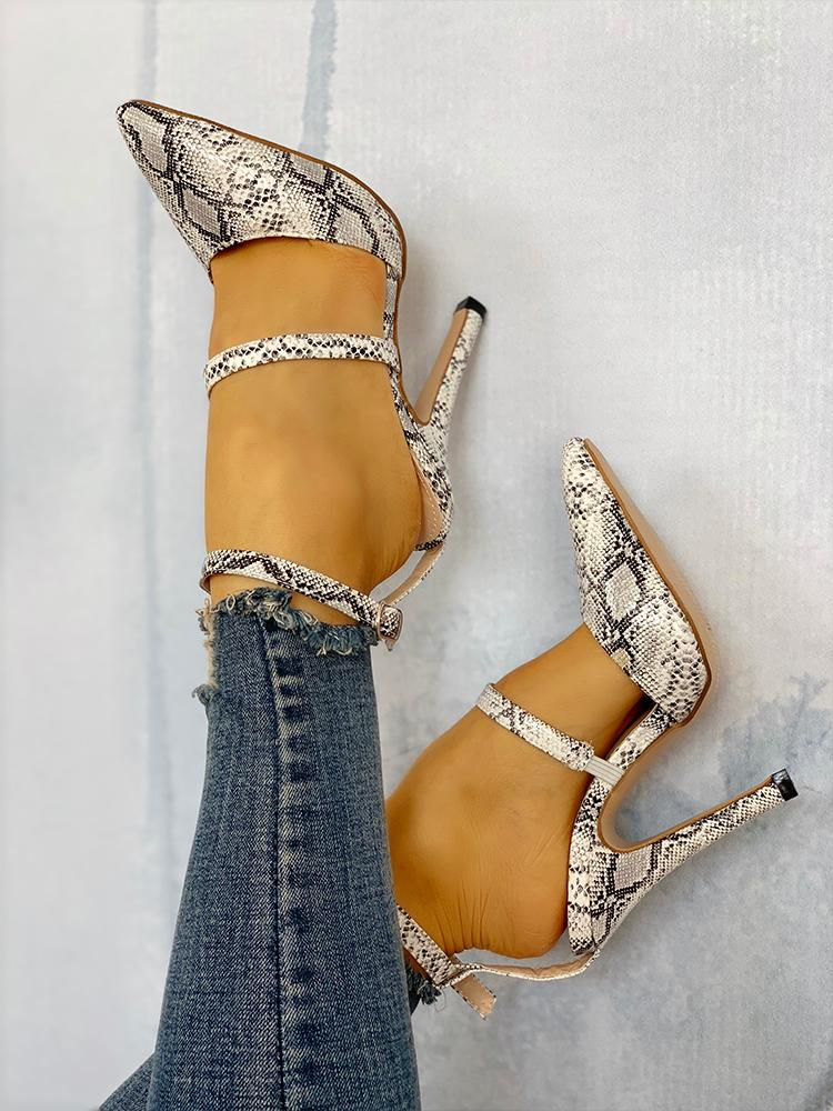 boutiquefeel / Snake Point Toe Cut Out Thin Heels
