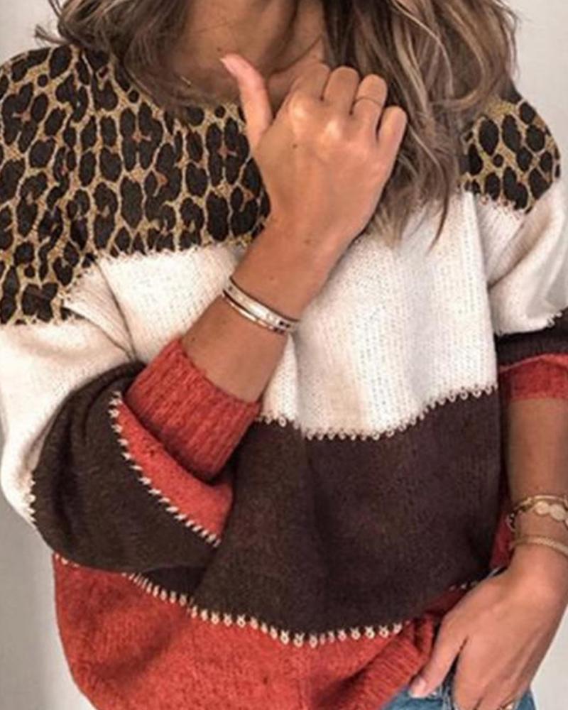 Leopard Stitiching Long Sleeve Sweater thumbnail