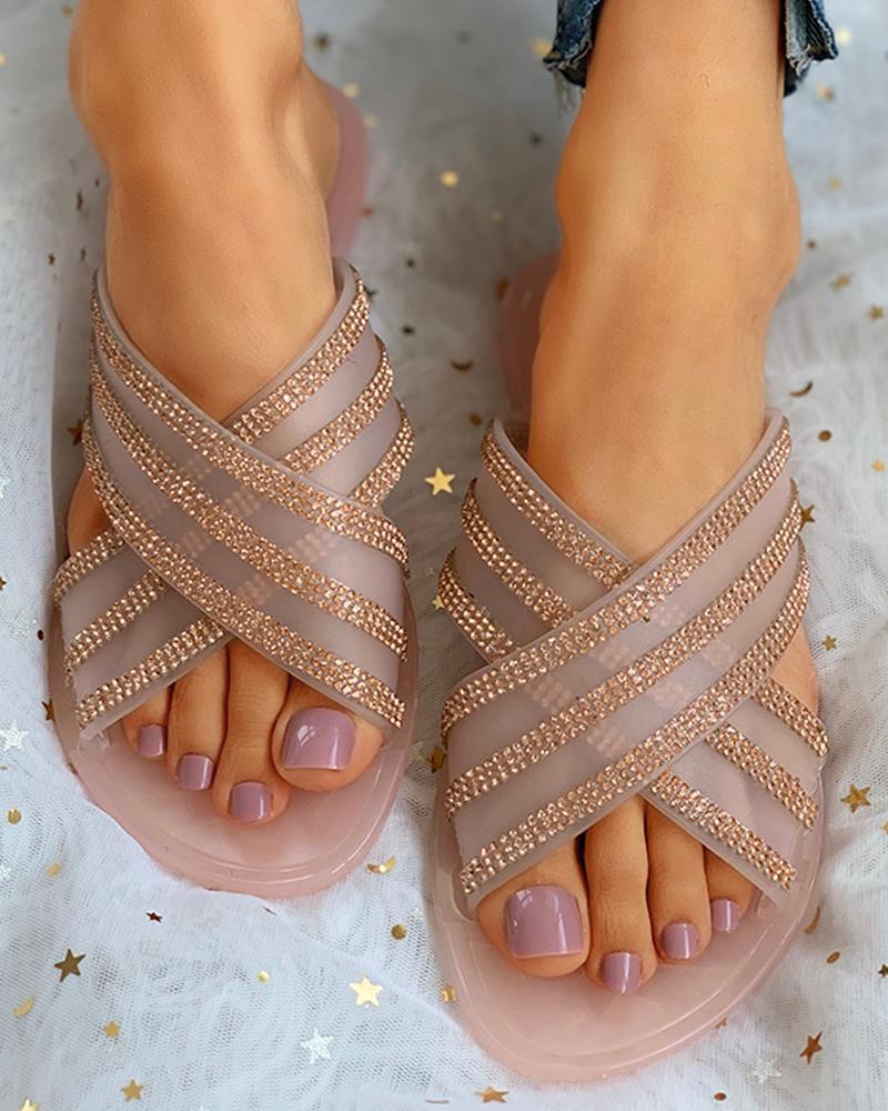 Open Toe Cutout Flat Sandals thumbnail