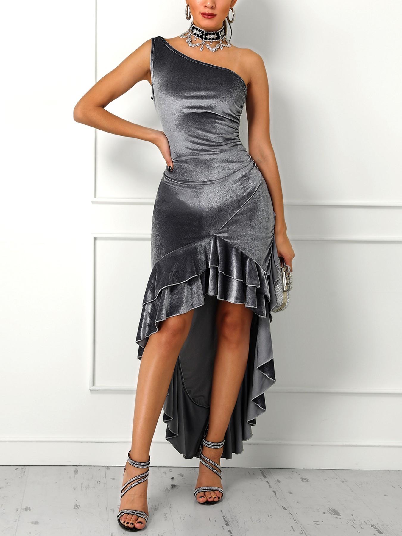 boutiquefeel / Velvet One Shoulder Layered Ruffles Irregular Party Dress