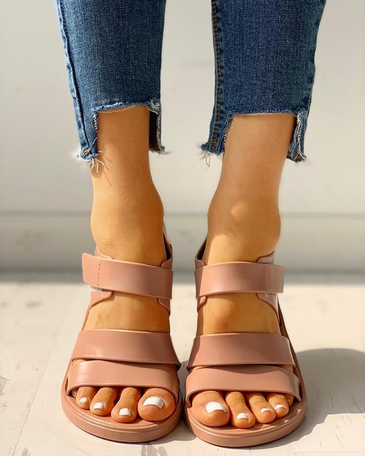 Multi-strap Open Toe Non-Slip Flat Sandals