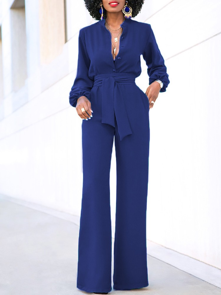 Fashion Button Up Belted Culotte Jumpsuit
