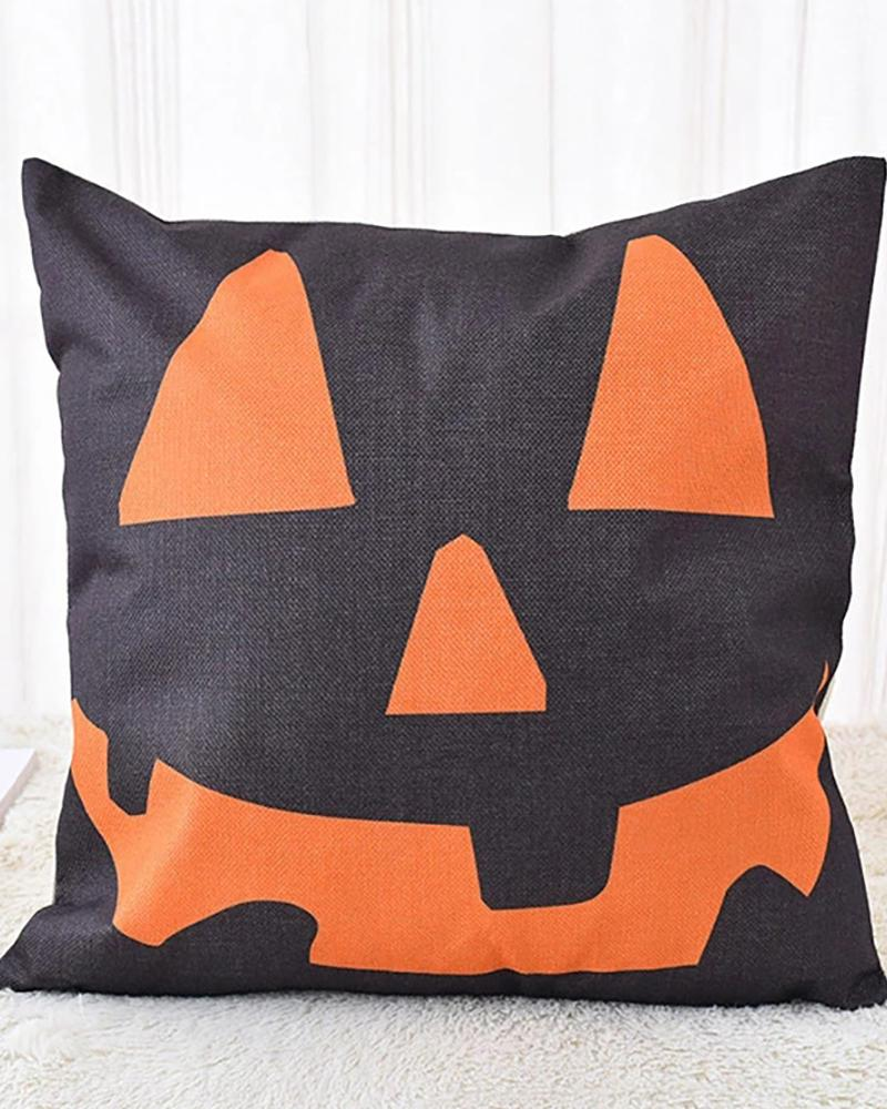 Halloween Witch / Letter / Striped Print Cushion Cover Without Filler thumbnail