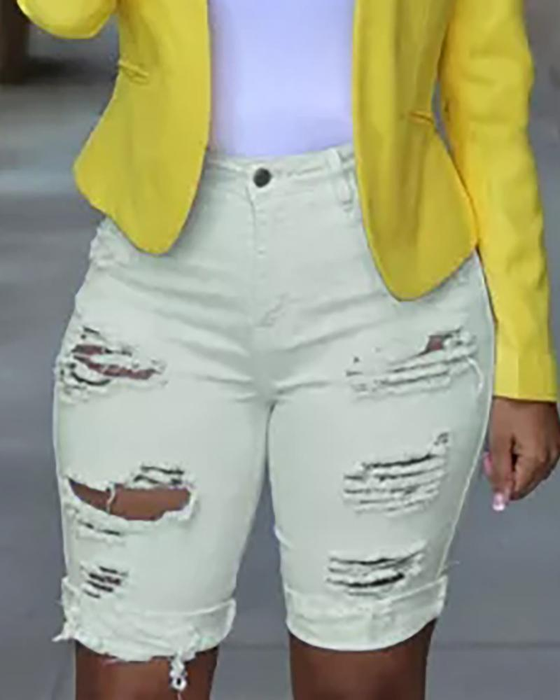 Ripped Cutout Casual Denim Shorts thumbnail