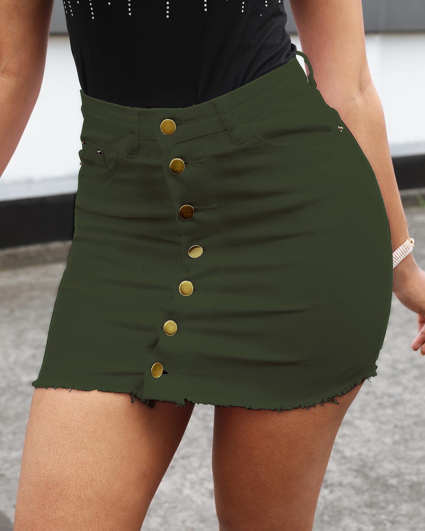 Buttoned Fringe Hem Casual Denim Skirts thumbnail