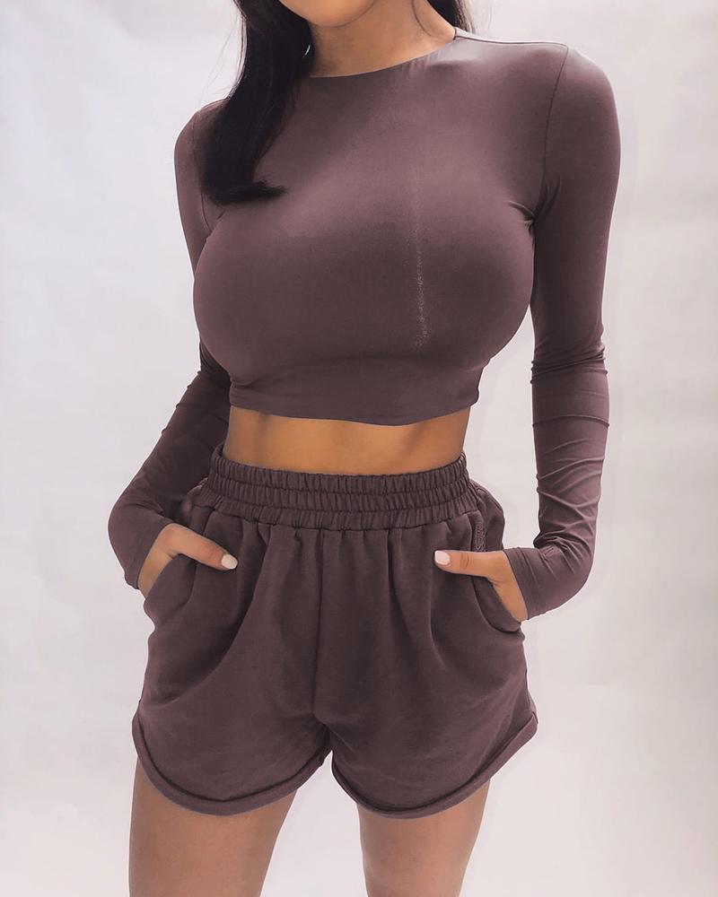 Solid Long Sleeve Top & Pockets Short Set thumbnail