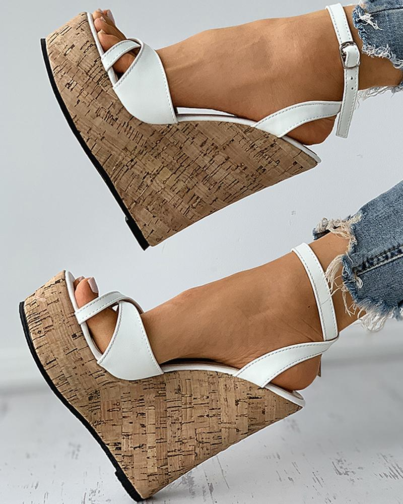 Peep Toe Cutout Woven Flax Wedges Sandals
