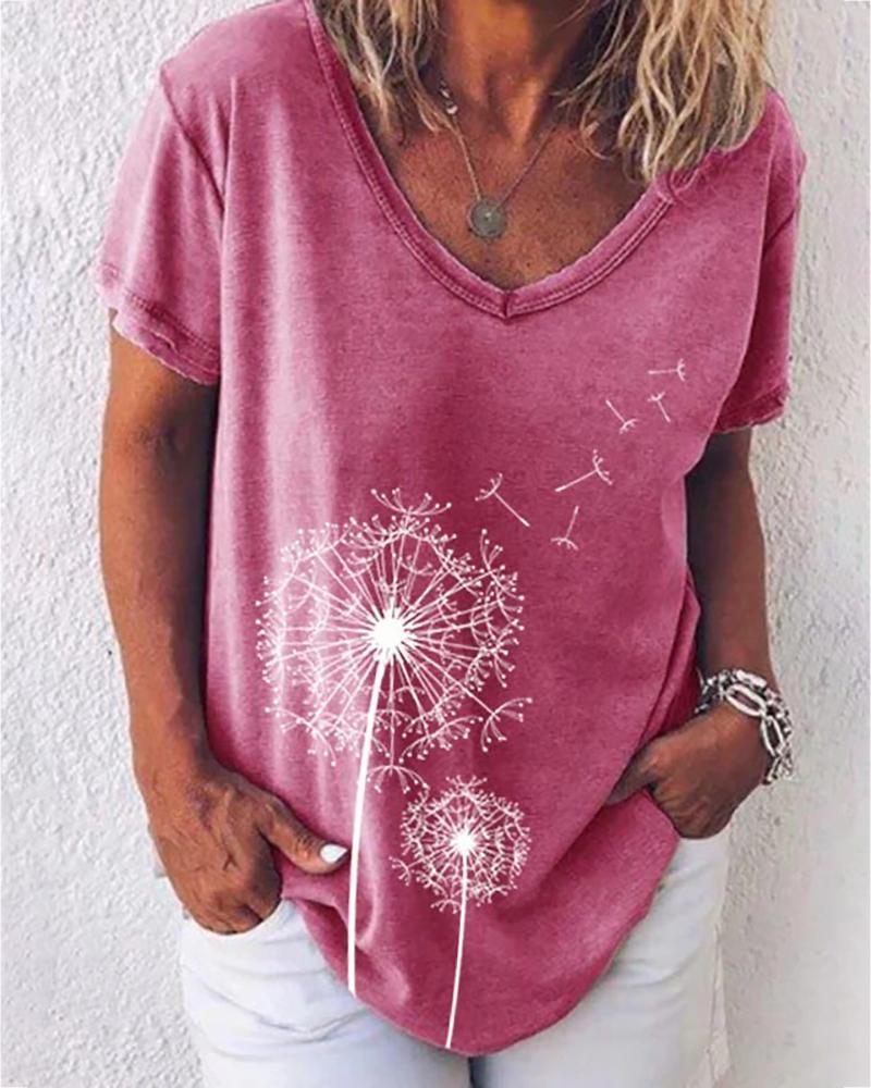 Flower Print V-neck Short Sleeve Casual T-shirt thumbnail