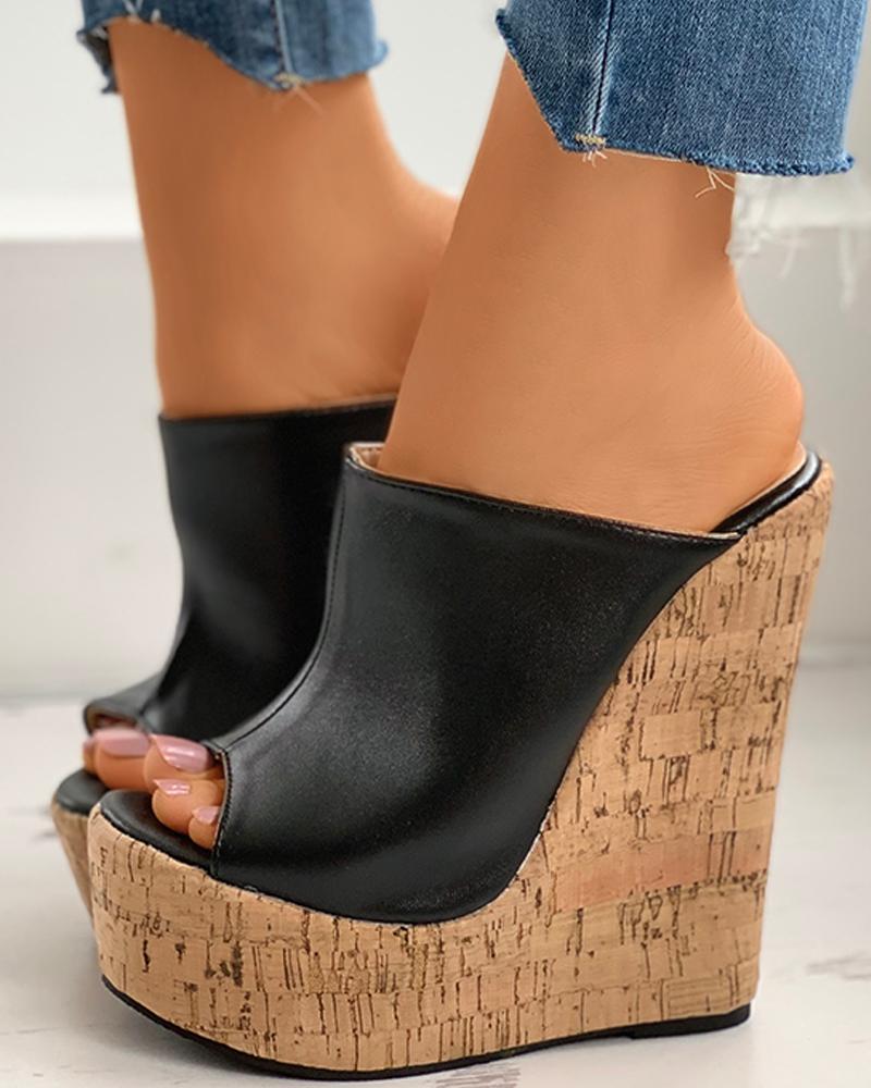 Colorblock Peep Toe Wedge Platform Heel thumbnail