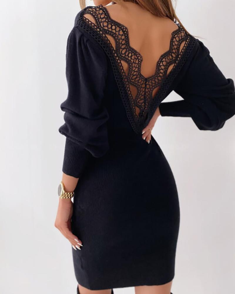 Lace Trim Backless Lantern Sleeve Sweater Dress thumbnail